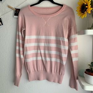Sweaters - Baby pink and white stripe sweater